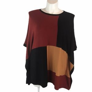 August Silk Sz L Color Blocked Poncho Sweater